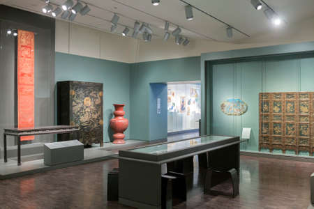 asian art: SAN FRANCISCO, CA - DECEMBER 6, 2015: The Asian Art Museum of San Francisco houses one of the most comprehensive Asian art collections in the world, with more than 18,000 works of art in its permanent collection, some as much as 6,000 years old.