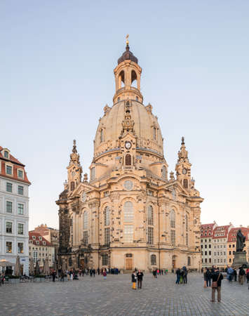 rebuild: DRESDEN, GERMANY - OCTOBER 11, 2015: The Dresden Frauenkirche is a Lutheran church in Dresden, the capital of the German state of Saxony.