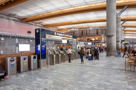 GARDERMOEN, NORWAY - APRIL 23 2016: Oslo Airport is the main international airport serving Oslo, the capital of and most populous city in Norway. Oslo is also served by the low-cost Torp and Rygge airports.