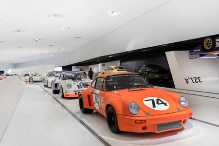 STUTTGART, GERMANY - SEP 18 2015: The Porsche Museum is an automobile museum in the Zuffenhausen district of Stuttgart, Germany on the site of carmaker Porsche. The museum was designed by the architects Delugan Meissl. The museum, which is as flexible as  Редакционное