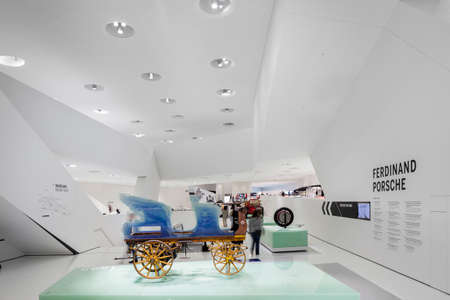 ferdinand: STUTTGART, GERMANY - SEP 18 2015: The Porsche Museum is an automobile museum in the Zuffenhausen district of Stuttgart, Germany on the site of carmaker Porsche. The museum was designed by the architects Delugan Meissl. The museum, which is as flexible as  Editorial