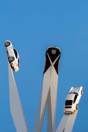 judah: STUTTGART, GERMANY - SEP 18 2015: The Porsche Museum is an automobile museum in the Zuffenhausen district of Stuttgart, Germany on the site of carmaker Porsche. The museum was designed by the architects Delugan Meissl. The museum, which is as flexible as  Editorial