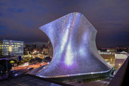 The Soumaya Museum at night.
