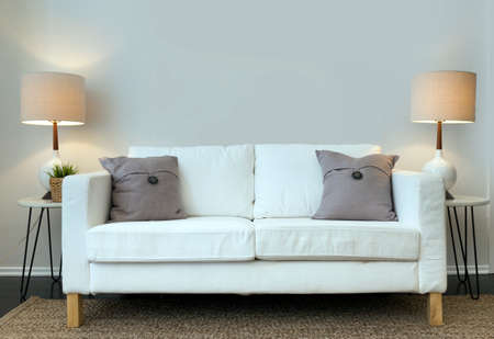 Country style sofa with lights. Stock Photo