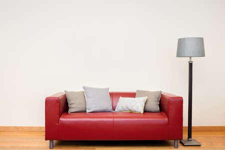 Tuxedo leather sofa in red. Stock Photo