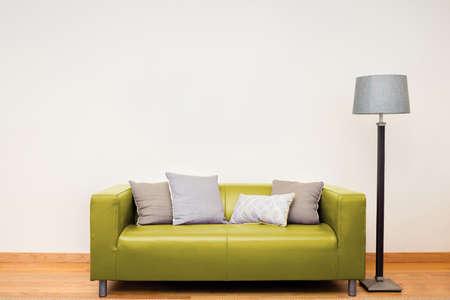 Tuxedo leather sofa in yellow.