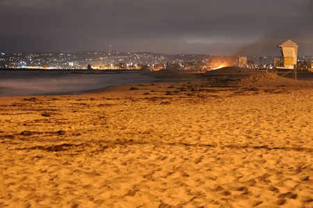 Ocean Beach, San Diego, in the evening with a slow exposure