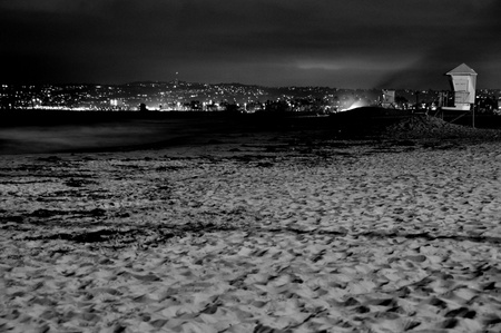 Ocean Beach, San Diego, in the evening with a slow exposure photo