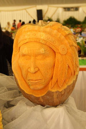 red indian: Beautiful vegetable carving - Pumpkin head Red Indian Editorial