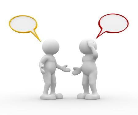 dialogo: Dos personas hablando - Esta es una ilustración 3d