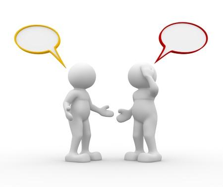 discutere: Due persone che parlano - Questa � una illustrazione di rendering 3d Archivio Fotografico
