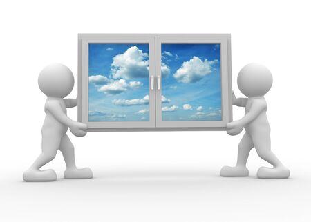 finestra: 3d icona persone portando una finestra - Questa è una illustrazione di rendering 3d
