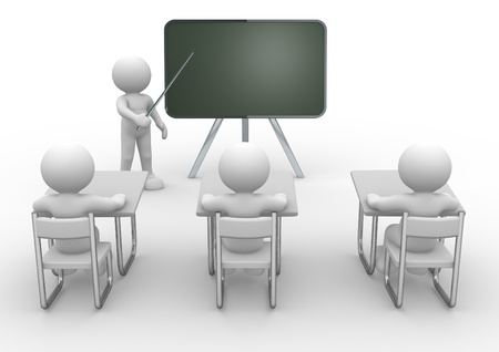 teaching adult: 3d person with pointer in hand close to board. Concept of education and learning.  - 3d render illustration