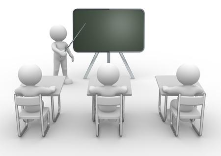 maestra ense�ando: Persona 3d con el puntero en la mano cerca de la pizarra. Concepto de la educaci�n y el aprendizaje. - 3d hacer ilustraci�n