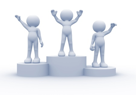 competitors: 3d people on podium - this is a 3d render illustration