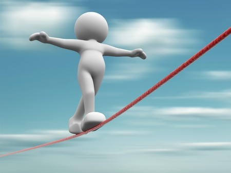challenges: 3d people walking on the rope -  This is a 3d render ilustration