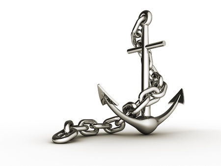 steely: Metal anchor on white background - 3d render
