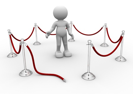 velvet rope: 3d people icon and velvet rope - this is a 3d render illustration  Stock Photo