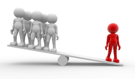 Leadership and team in balance -This is a 3d render illustration Stock Illustration - 14664806