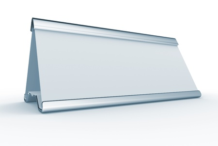 name plate: Blank nameplate over withe - T his is a 3d render illustration