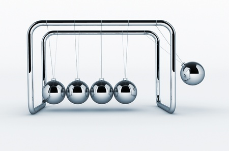 3d render of Newtons cradle on white background - This is a 3d render illustration