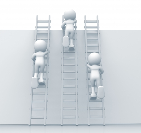ladders: 3d people climbing ladders - This is a 3d render illustration