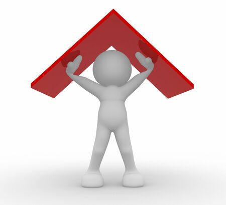 3d human: 3D human icon holding  the roof - This is a 3d render illustration