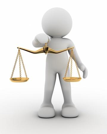 balanza: 3 � persona con el equilibrio - Esta es una ilustraci�n 3d