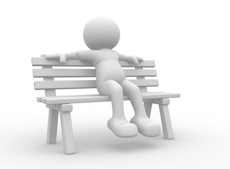 3d person sitting on the bench This is a 3d render illustration illustration