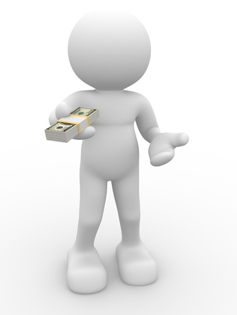 payment icon: 3d person character giving a stack of U.S. dollars - This is a 3d render illustation