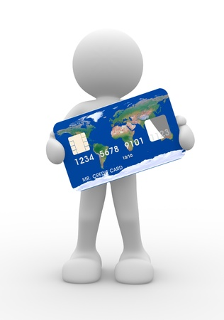 creditcard: 3d people icon with a credit card on a white background - This is a 3d render illustration