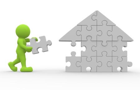 titeres: La gente del icono 3d terminar la casa - esto es una ilustraci�n 3d Foto de archivo