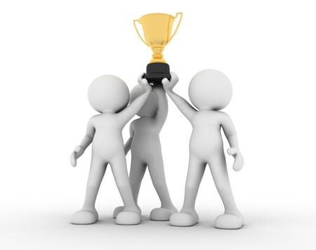 trofeo: Las personas 3d, hombres que sostienen el trofeo de oro