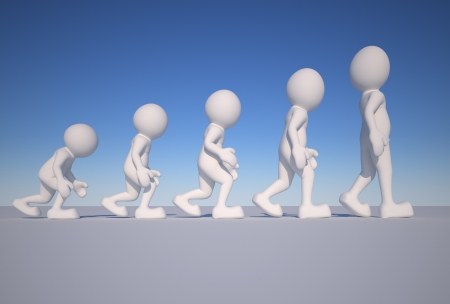 human evolution: 3d people icon suggestion evolution- This is a 3d render illustration Stock Photo