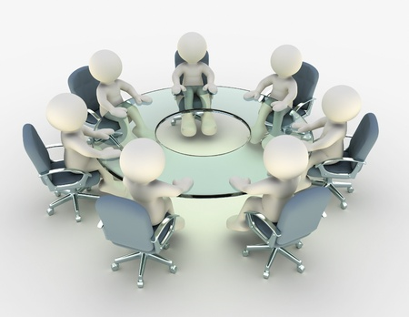 round chairs: 3d people and conference table - This is a 3d render illustration