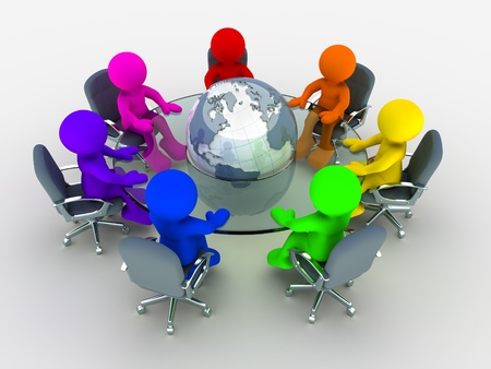round table conference: 3d people of different nationalities at the conference table glass around the earth globe Stock Photo