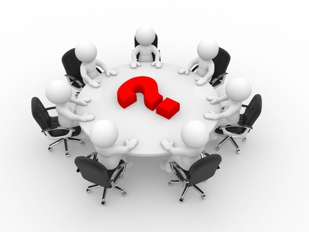 round chairs: 3d people at conference table and question mark- This is a 3d render illustration Stock Photo