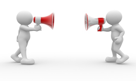 3d human character with a red megaphone - 3d render  photo