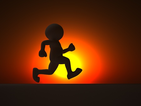 Human character running at sunset - this is a 3d render illustration Stock Illustration - 14664838
