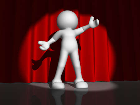 3d person character singing on stage - This is a 3d render illustration Stock Illustration - 14664850