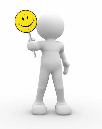 happy face: 3d human icon with smiling yellow sign - rendered in 3d