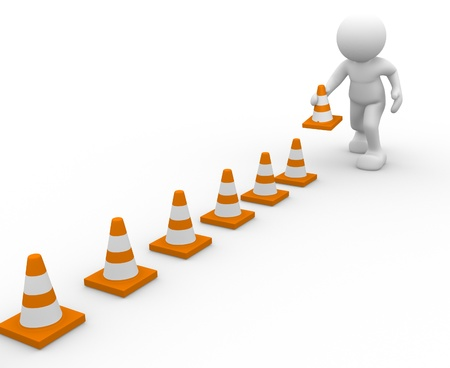construction barrier: 3d icon man and traffic coins - This is a 3d render illustration