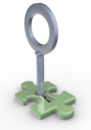lockout: Jigsaw puzzle piece with key - this is a 3d render illustration