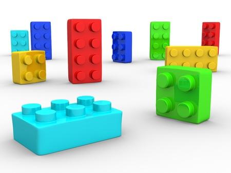 Plastic stuk speelgoed blokken op witte achtergrond - 3d render illustratie