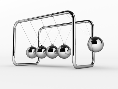 cradle: 3D render of Newtons cradle on white background - This is a 3d render illustration Stock Photo