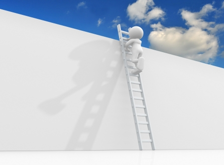 3d guy: 3d character person climbing the ladder to sky- This is a 3d render illustration
