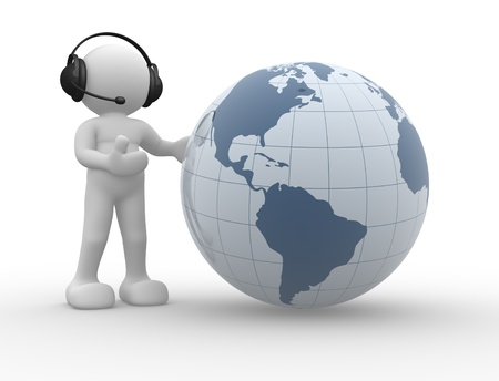 mobile headsets: 3d people icon and the earth globe. This is a 3d render illustration