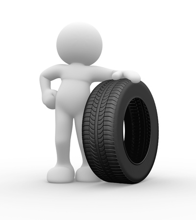 3d people icon with car tire -  This is a 3d render illustration Stock Illustration - 14664870