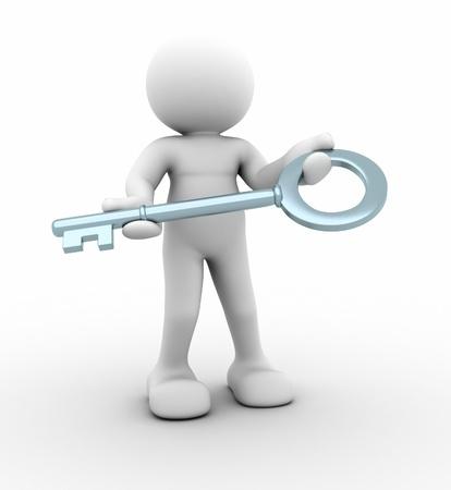 3d person: Car�cter 3d con una persona clave - Esta es una ilustraci�n 3d Foto de archivo