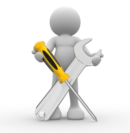 screwdriver: 3d person with screwdriver and wrench tools - This is a 3d render illustration Stock Photo